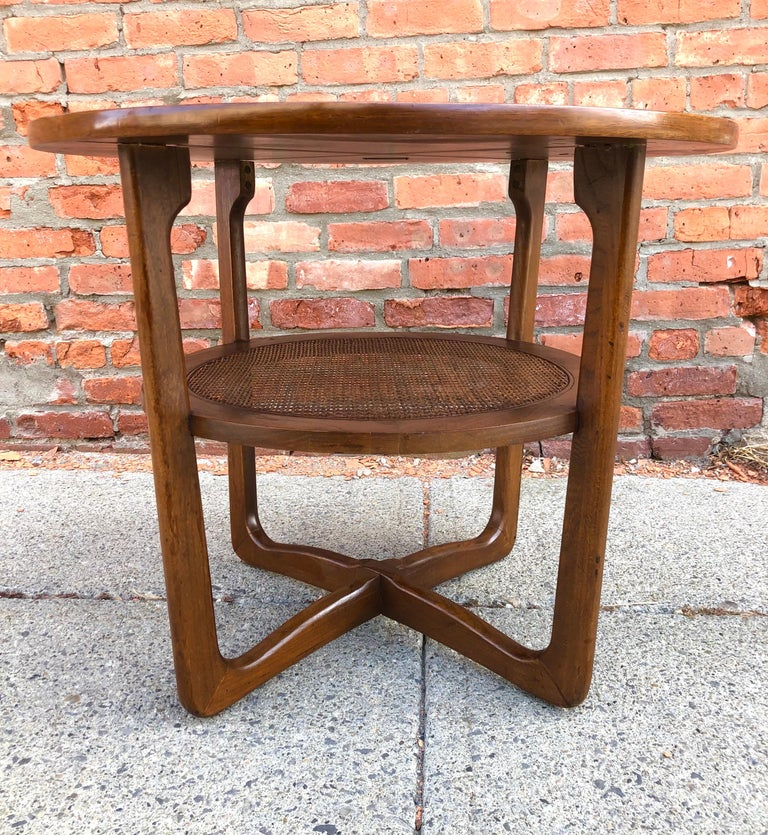 Dunbar Two-Tier Walnut Occasional Table with Cane Shelf For Sale 1