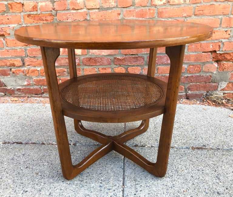 Dunbar Two-Tier Walnut Occasional Table with Cane Shelf For Sale 2