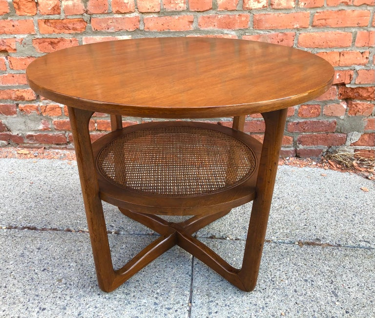 Dunbar Two-Tier Walnut Occasional Table with Cane Shelf For Sale 3