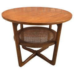 Dunbar Two-Tier Walnut Occasional Table with Cane Shelf