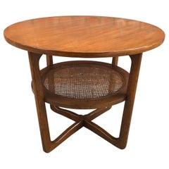 Dunbar Two-Tier Walnut Occasional Table with Cane Shelf