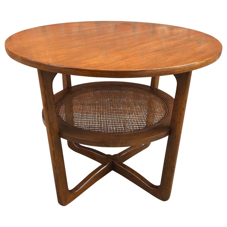 Dunbar Two-Tier Walnut Occasional Table with Cane Shelf For Sale