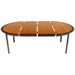 Dunbar Two-Tone Light & Dark Walnut Dining Table with Two Leaves