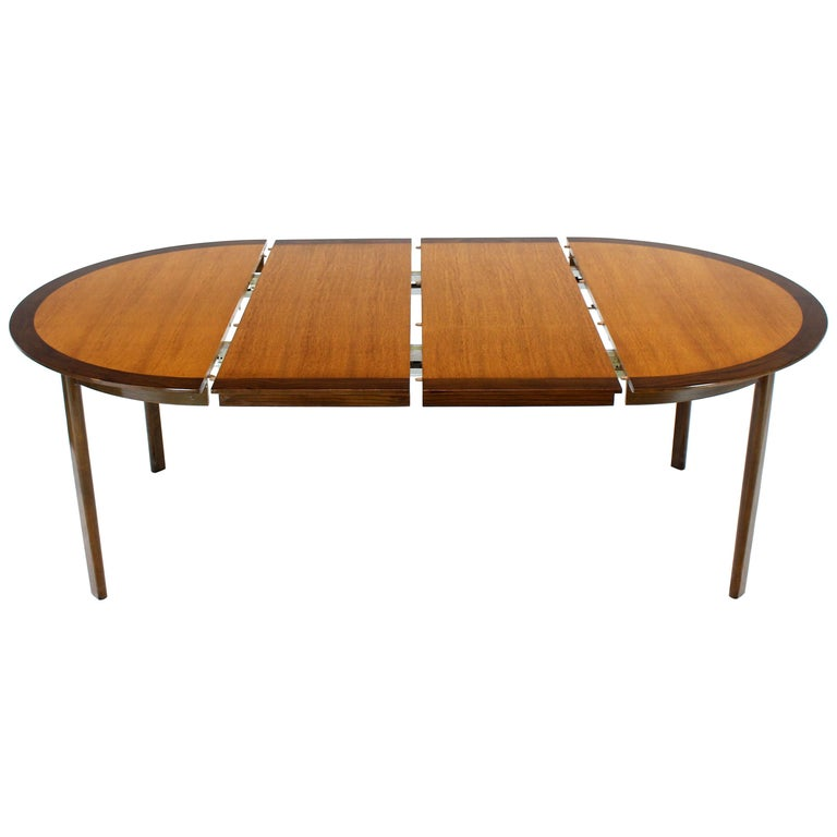 6a0c14516c8d Dunbar Two-Tone Light and Dark Walnut Dining Table with Two Leaves For Sale  at 1stdibs