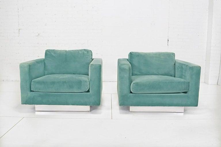 Mid-Century Modern Dunbar Velvet Tuxedo Lounge Chairs on Chrome Bases, Edward Wormley, 1960s For Sale