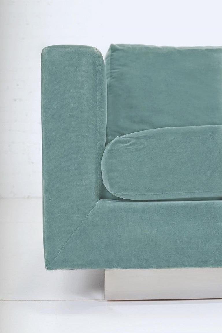 American Dunbar Velvet Tuxedo Lounge Chairs on Chrome Bases, Edward Wormley, 1960s For Sale