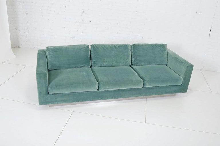 Cotton Dunbar Velvet Tuxedo Lounge Chairs on Chrome Bases, Edward Wormley, 1960s For Sale