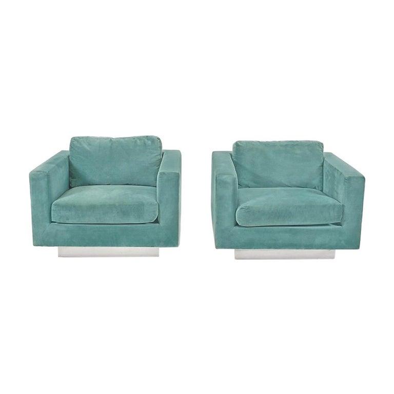 Dunbar Velvet Tuxedo Lounge Chairs on Chrome Bases, Edward Wormley, 1960s For Sale