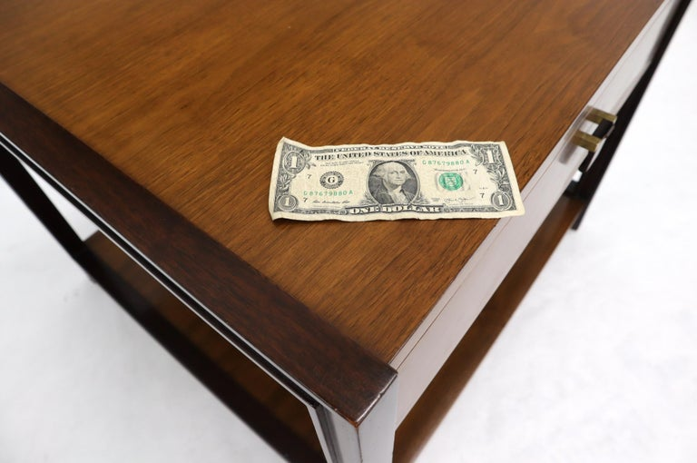 Dunbar Walnut Rectangle One Drawer End Side Table Stand For Sale 8