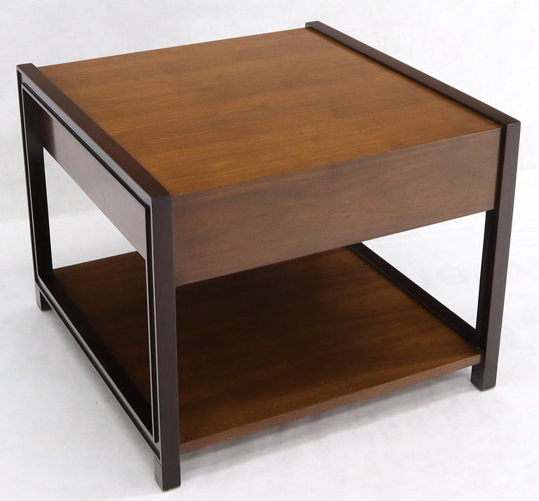 Dunbar Walnut Rectangle One Drawer End Side Table Stand For Sale 10