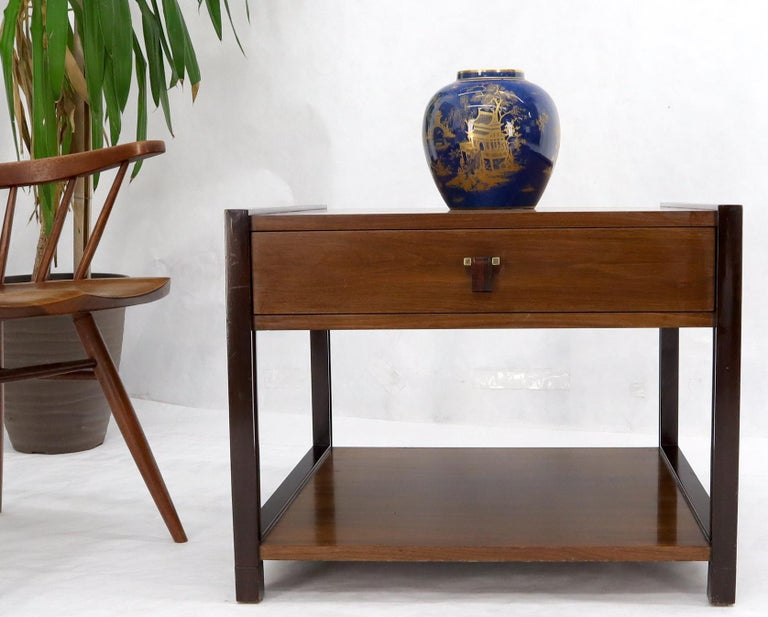 Mid-Century Modern Dunbar Walnut Rectangle One Drawer End Side Table Stand For Sale