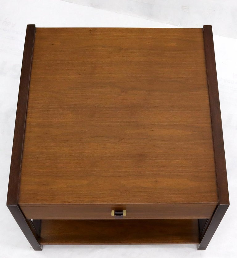 American Dunbar Walnut Rectangle One Drawer End Side Table Stand For Sale