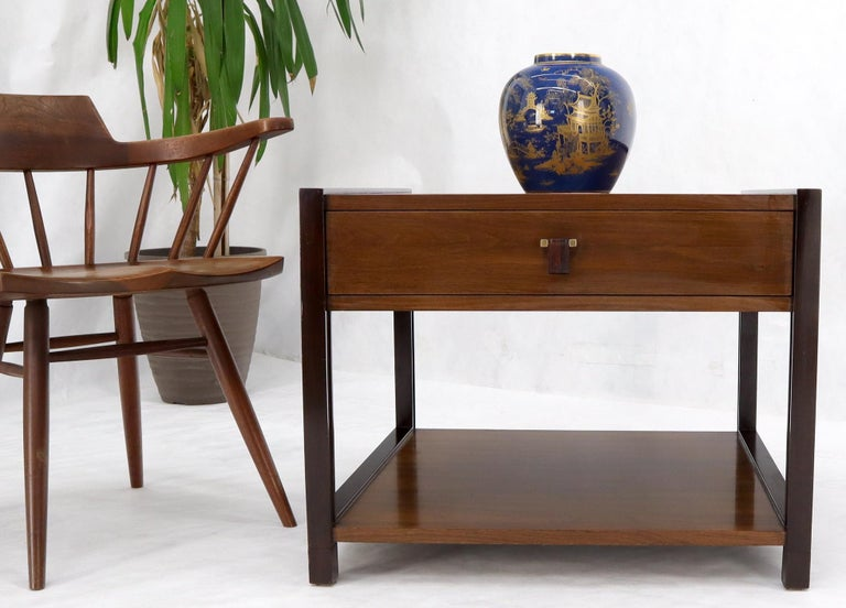 Dunbar Walnut Rectangle One Drawer End Side Table Stand For Sale 2