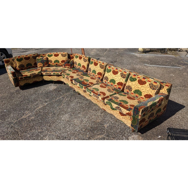 Dunbar Wormley 2 piece sectional sofa 1950s   Rare sectional sofa designed by Edward Wormley, manufactured by Dunbar. The sofa consists of two parts of one angled and one straight. Pieces can be used together or separately. Walnut base with