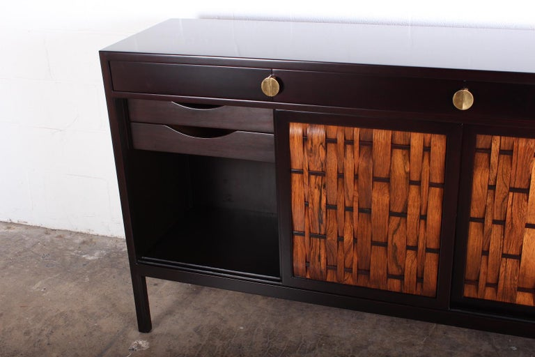 Dunbar Woven Front Cabinet by Edward Wormley In Good Condition In Dallas, TX