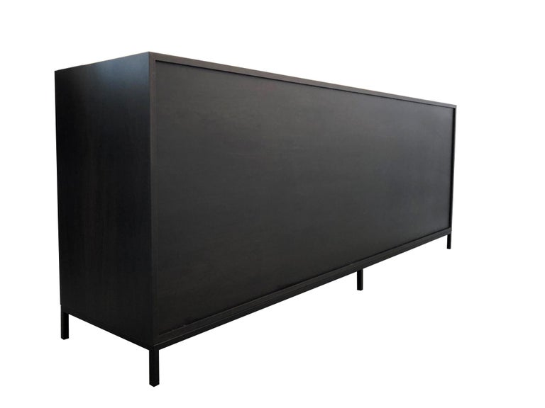 Canadian Duncan Credenza, Hand Painted Art Door Cabinet by Morgan Clayhall For Sale