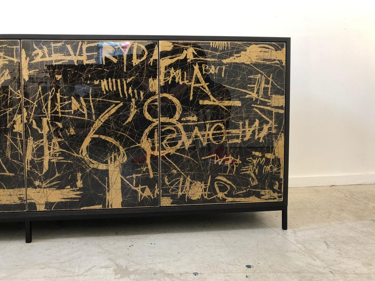 Duncan Credenza, Hand Painted Art Door Cabinet by Morgan Clayhall In New Condition For Sale In Toronto, ON