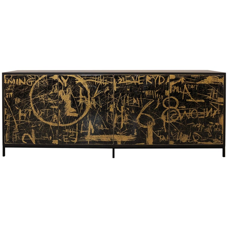 Duncan Credenza, Hand Painted Art Door Cabinet by Morgan Clayhall For Sale