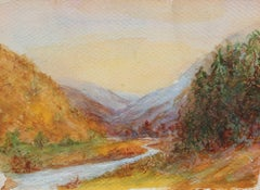 Impressionist Landscape in Watercolor Painting, Circa 1920s