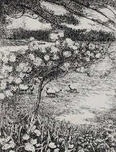 Monochromatic Impressionist Landscape with Sheep and Trees in Ink, 1932
