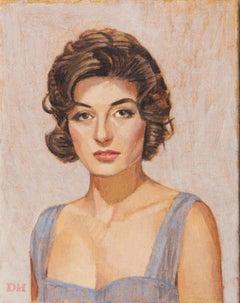 Duncan Hannah, Anouk (Aimée), oil on canvas (figurative, portrait, sixties)