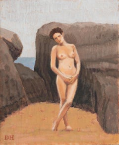 Duncan Hannah, Goodbye Emmanuel,  2019 (painting, female, beach, portrait, nude)
