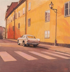 Duncan Hannah, Gallo, oil painting on canvas (figurative, architecture, car)