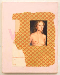 Duncan Hannah, Pink Rainbaux, oil painting on canvas (collage, portrait)