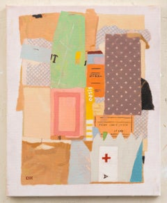 Duncan Hannah, Red Cross, oil painting on canvas (figurative, collage)