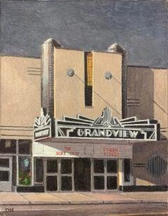 Duncan Hannah, Truffaut Double Feature, oil on canvas (architecture, figurative)