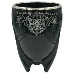 Duncan Miller Art Deco Black Amethyst Ebony Glass Sterling Overlay Rocket Vase