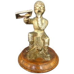 Dunce Cigar Tip Cutter, Bronze Sculpture Tobacco Accessory, 19th Century