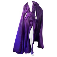 Dundas Purple Silk Crepe Plunging Halter Dress with Matching Voluminous Cape
