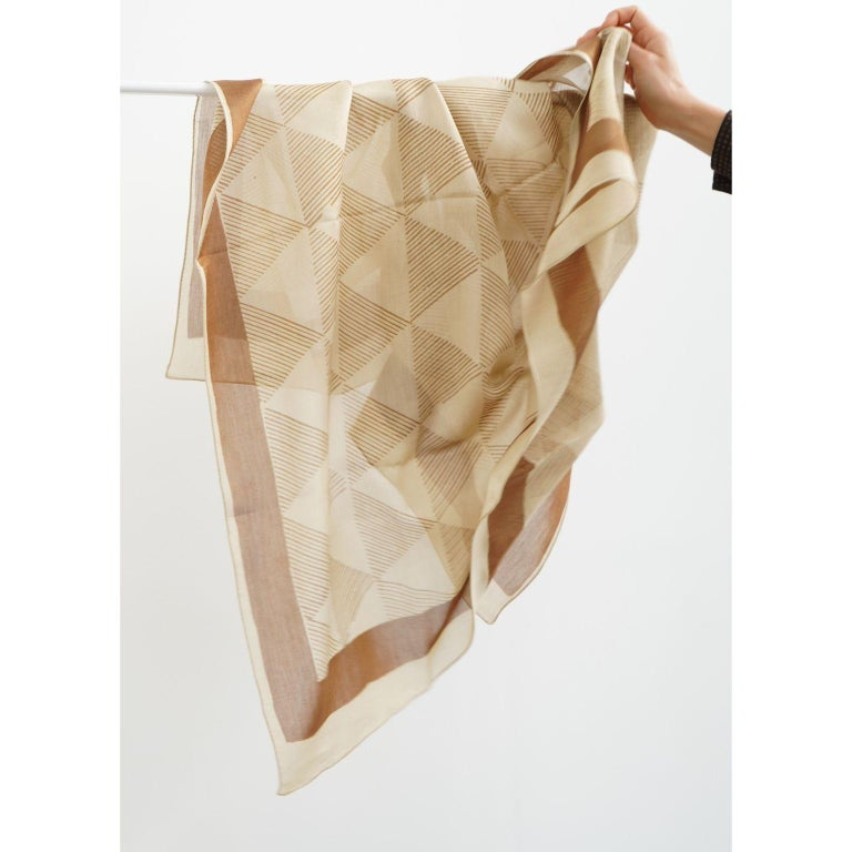 Modern DUNE Hand Block Print  Scarf / Wrap  For Sale