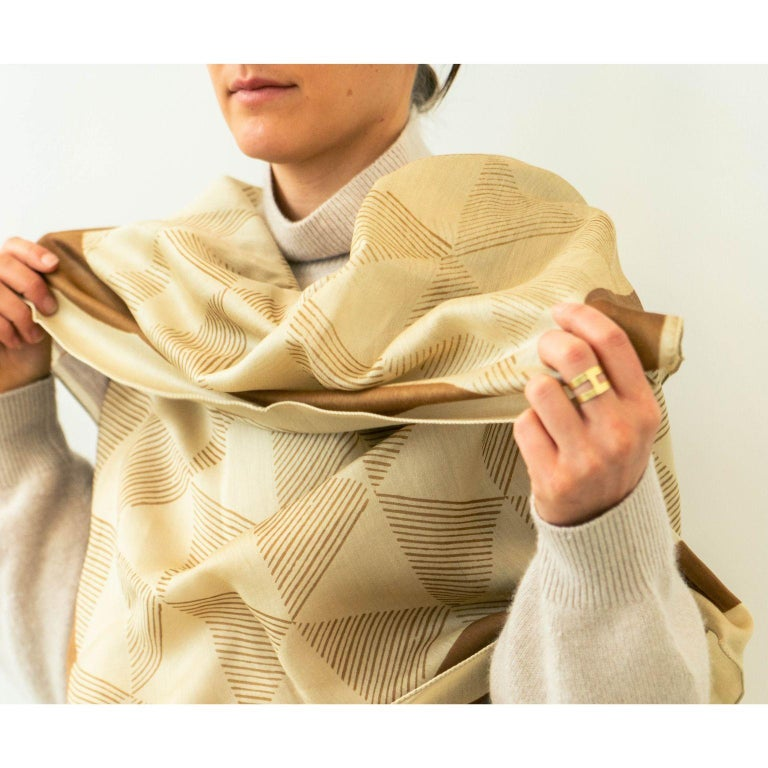 Hand-Crafted DUNE Hand Block Print  Scarf / Wrap  For Sale