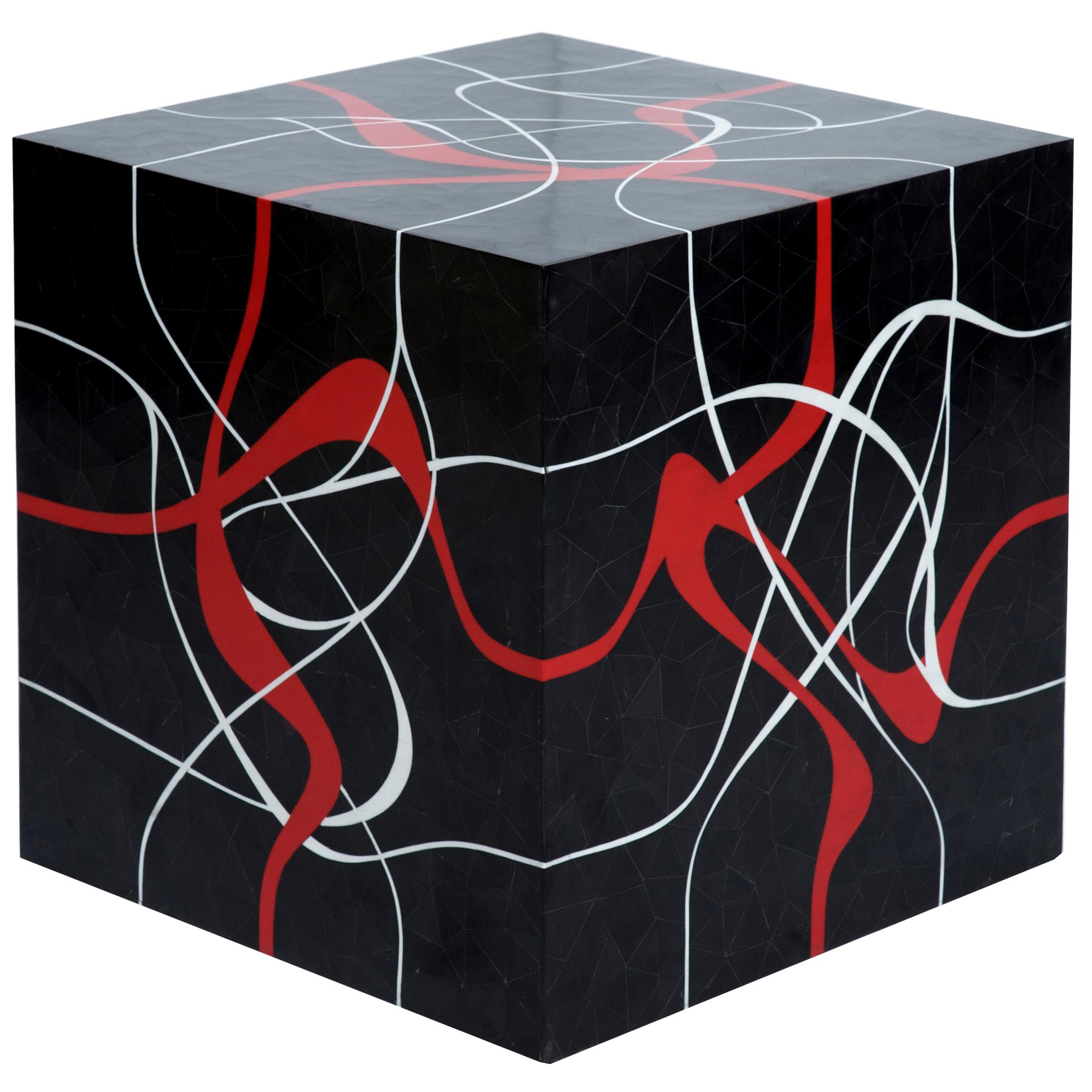 Modern Cube Table in tessellated Horn with GraphicRed & Grey Resin Inlay- Dune