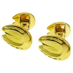 Dunhill 18 Karat Yellow Gold Horseshoe Motif Cufflinks