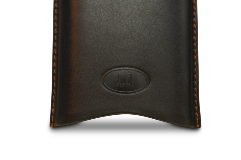 International Style Dunhill Black Leather 3 Cigar Holder with Original Box & Original Dunhill Cutter