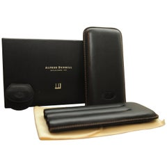 Dunhill Black Leather 3 Cigar Holder with Original Box & Original Dunhill Cutter
