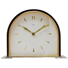 Dunhill Brass and Wood Domed Desk Clock, circa 1940s