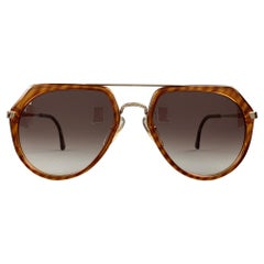 DUNHILL Brown Tortoise Acetate & Metal Drop Sunglasses
