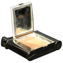 Dunhill Compact Silver Plate Petrol Lighter 1930s, Working with Mirror Intact