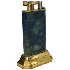 Dunhill Lift Arm Table Lighter Blue Mottled Lacquer Finish