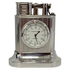 Dunhill Silver Plated Longitude Lighter and Clock