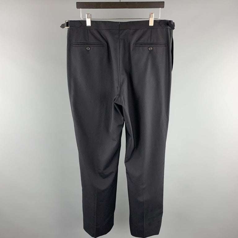 DUNHILL Size 34 Black Solid Wool Tuxedo Dress Pants In Excellent Condition For Sale In San Francisco, CA