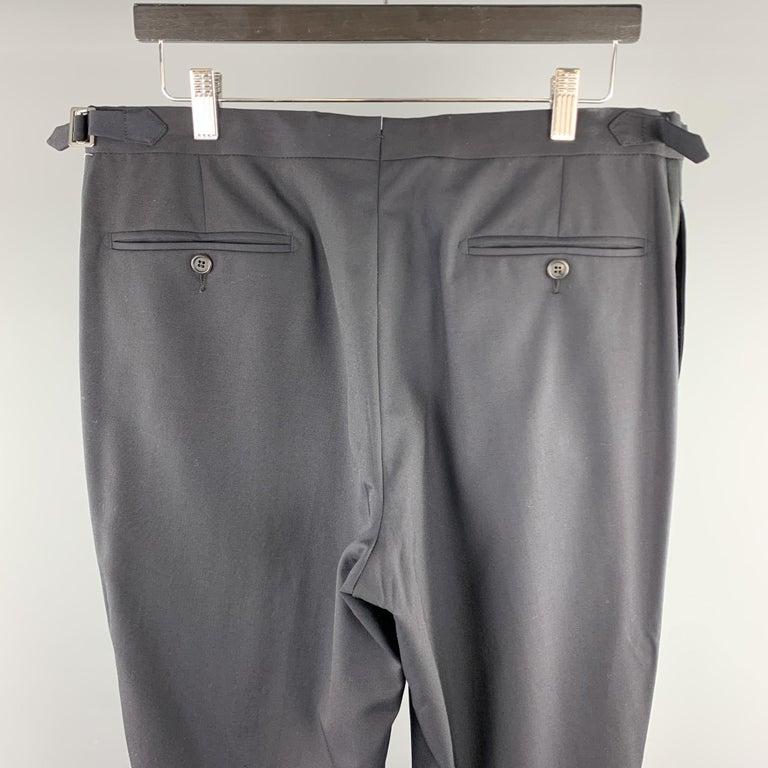 Men's DUNHILL Size 34 Black Solid Wool Tuxedo Dress Pants For Sale