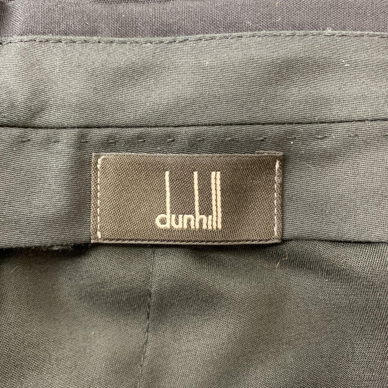 DUNHILL Size 34 Black Solid Wool Tuxedo Dress Pants For Sale 1