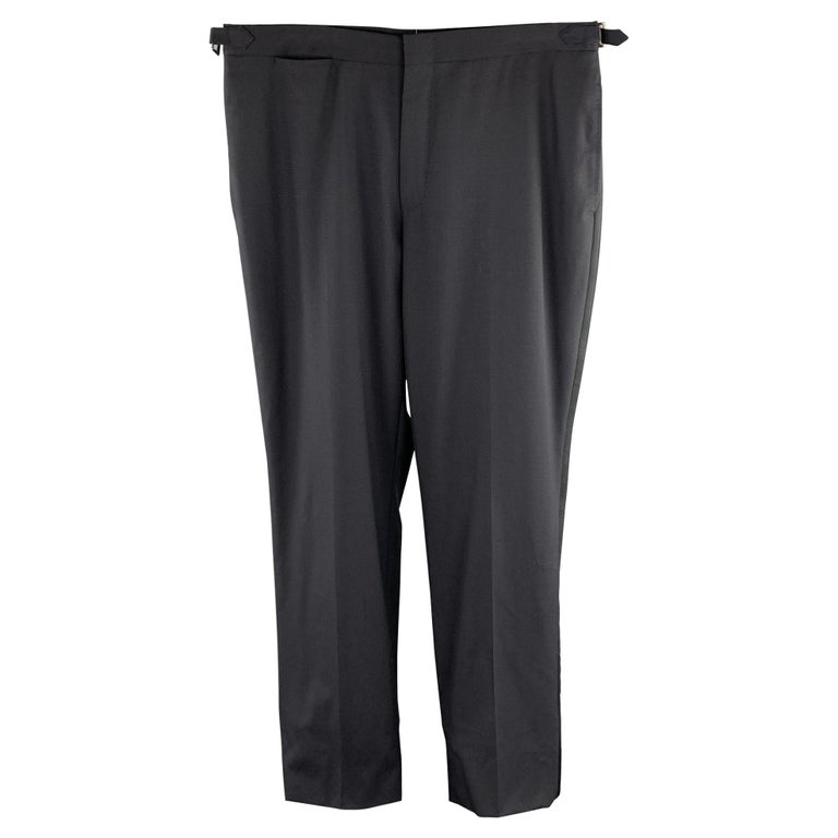 DUNHILL Size 34 Black Solid Wool Tuxedo Dress Pants For Sale