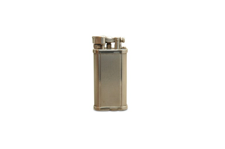British Dunhill Unique Silver Plated Gas Lighter with Original Gift Box, Papers & Flints For Sale
