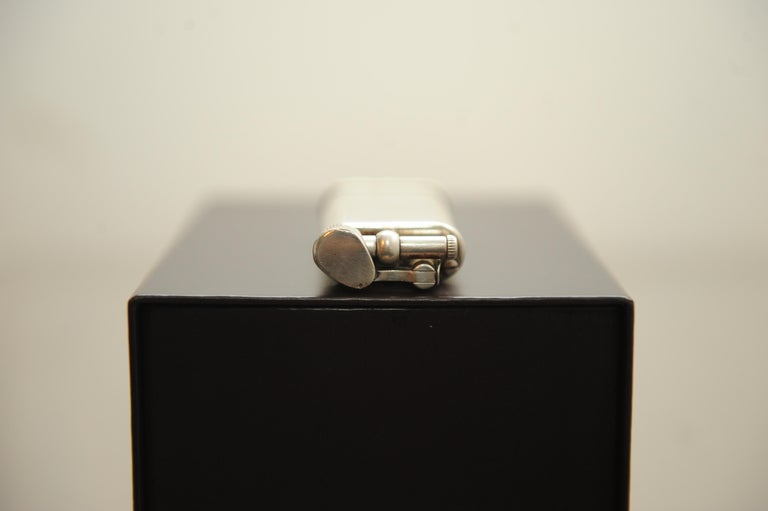 Contemporary Dunhill Unique Silver Plated Gas Lighter with Original Gift Box, Papers & Flints For Sale